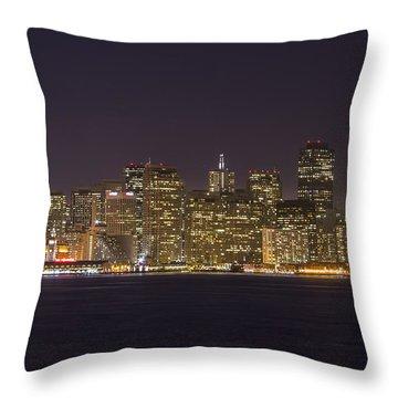 San Francisco Nighttime Skyline 1 Throw Pillow