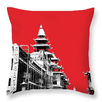 San Francisco Skyline Chinatown - Red Throw Pillow by DB Artist
