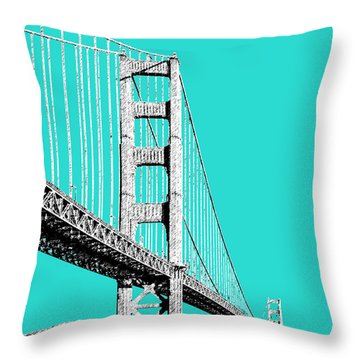 San Francisco Skyline Golden Gate Bridge 2 - Aqua Throw Pillow by DB Artist