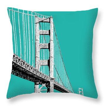 San Francisco Skyline Golden Gate Bridge 2 - Teal Throw Pillow by DB Artist