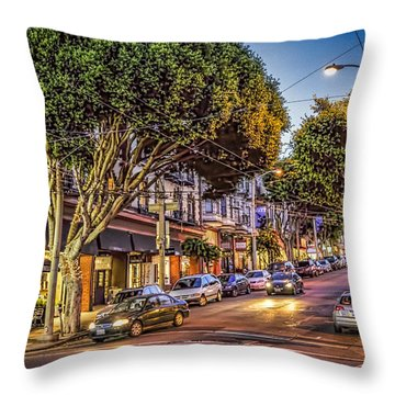 Throw Pillow featuring the photograph Hdr Effect - San Francisco Street by Susan Leonard