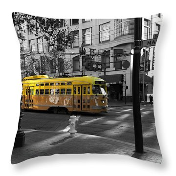 San Francisco Vintage Streetcar On Market Street - 5d19798 - Black And White And Yellow Throw Pillow