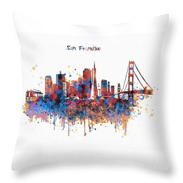 San Francisco Watercolor Skyline Throw Pillow by Marian Voicu