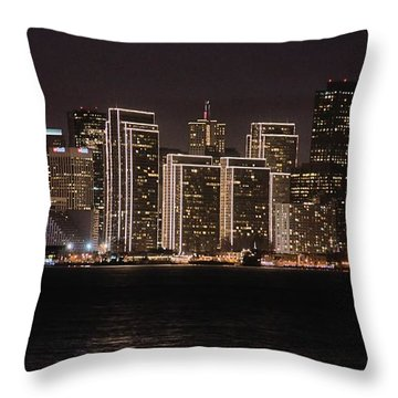 Throw Pillow featuring the photograph San Francisco Waterfront At Night by Bob Wall