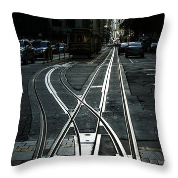 Throw Pillow featuring the photograph San Francisco Silver Cable Car Tracks by Georgia Mizuleva