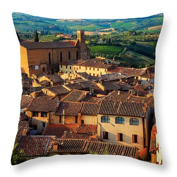 San Gimignano From Above Throw Pillow by Inge Johnsson
