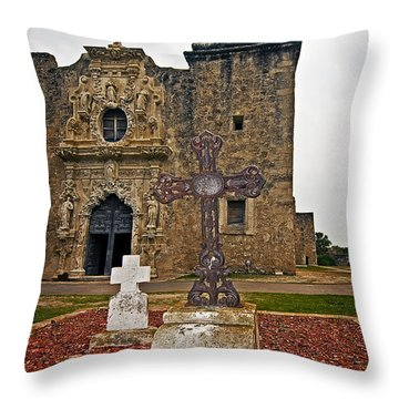 San Jose Mission Crosses Throw Pillow by Andy Crawford