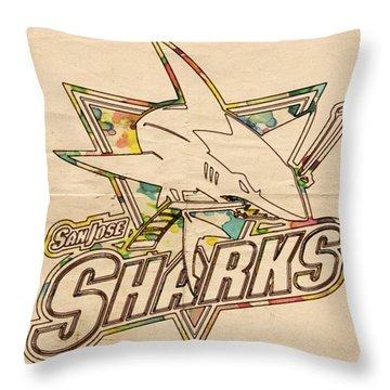 San Jose Sharks Vintage Poster Throw Pillow