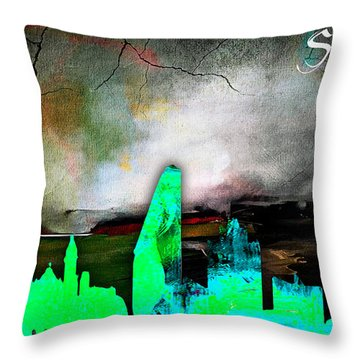 San Jose Skyline Watercolor Throw Pillow
