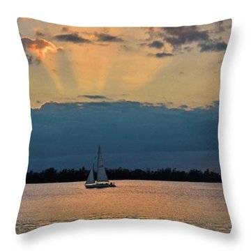 San Juan Bay Sunset And Sailboat Throw Pillow