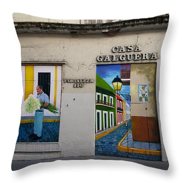 San Juan - Casa Galguera Mural Throw Pillow