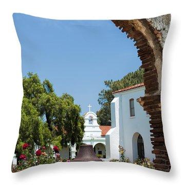 San Luis Rey - Mission Church Throw Pillow by Sandra Bronstein