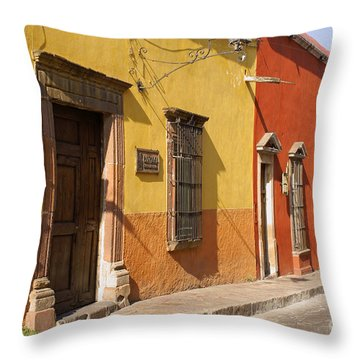 San Miguel Street Mexico Throw Pillow