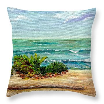 Throw Pillow featuring the painting San Onofre Beach by Mary Scott