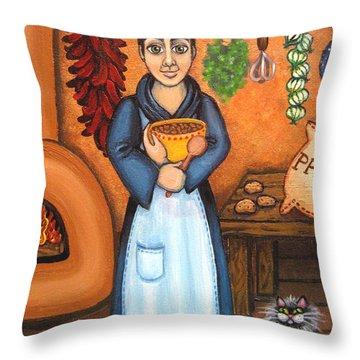San Pascual Bad Kitty Throw Pillow by Victoria De Almeida