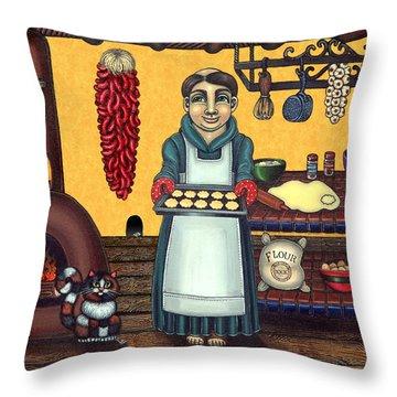 San Pascual Making Biscochitos Throw Pillow