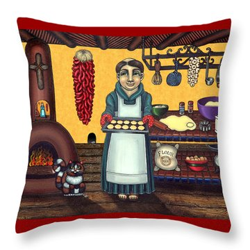San Pascual Making Biscochitos Throw Pillow by Victoria De Almeida