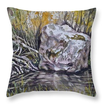 San Poil River Rock Throw Pillow