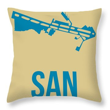 San San Diego Airport Poster 3 Throw Pillow by Naxart Studio