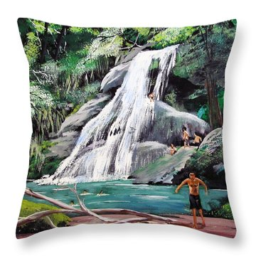 San Sebastian Waterfall Throw Pillow by Luis F Rodriguez