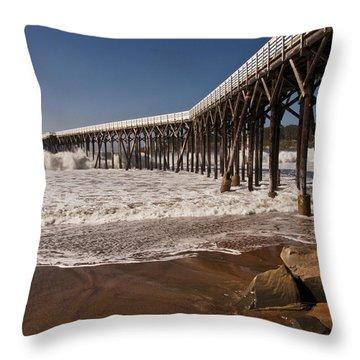 Throw Pillow featuring the photograph San Simeon Pier by Lee Kirchhevel