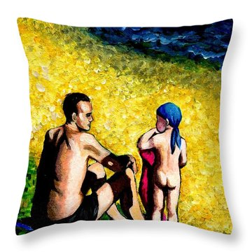 Sand Beach Father And Son Throw Pillow
