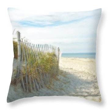 Sand Beach Ocean And Dunes Throw Pillow