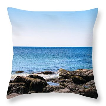 Sand Beach Rocky Shore   Throw Pillow