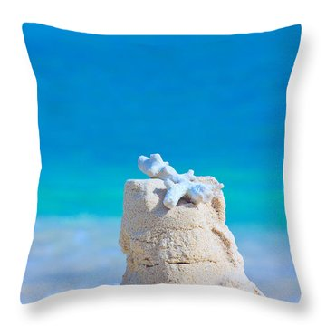 Sand Castle With Coral Against Calm Turquoise Sea Throw Pillow