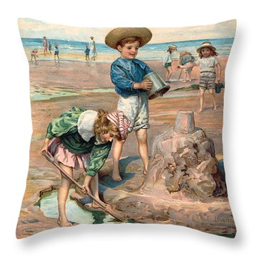 Sand Castles At The Beach Throw Pillow by Unknown