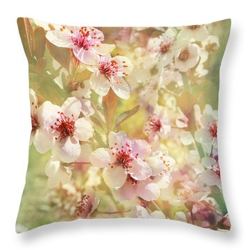 Sand Cherry Flourish Throw Pillow