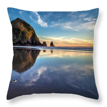 Sand Dollar Sunset Repose Throw Pillow by Mike Reid