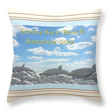Sand Dolphins - Digitally Framed Throw Pillow