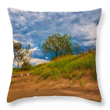 Sand Dunes At Indian Dunes National Lakeshore Throw Pillow