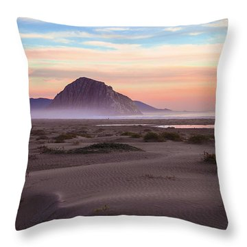 Sand Dunes At Sunset At Morro Bay Beach Shoreline  Throw Pillow by Jerry Cowart
