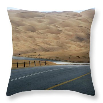 Sand Dunes At The Empty Quarter Desert Throw Pillow