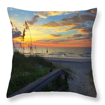 Sand Dunes On The Seashore At Sunrise - Carolina Beach Nc Throw Pillow