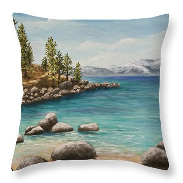 Sand Harbor Lake Tahoe Throw Pillow