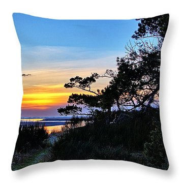 Sand Lake Sunset Throw Pillow