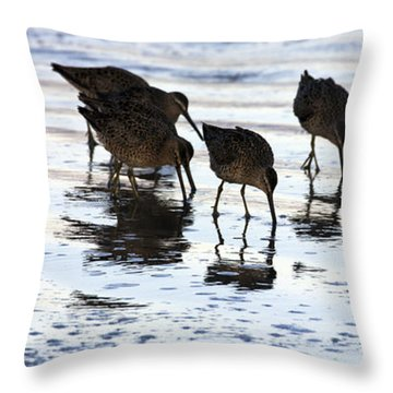 Sand Pipers Reflected Throw Pillow