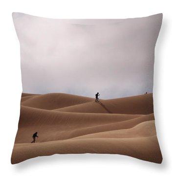 Sand Skiing Throw Pillow