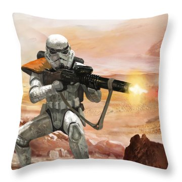 Sand Trooper - Star Wars The Card Game Throw Pillow