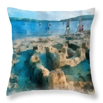 Sandcastle On The Beach Throw Pillow by Amy Cicconi
