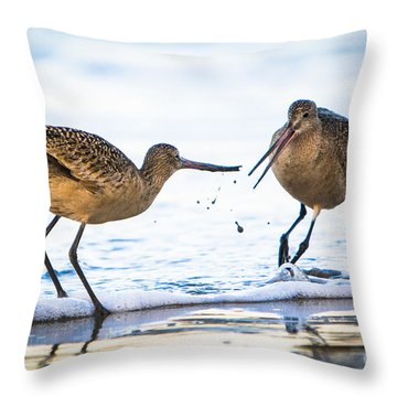 Throw Pillow featuring the photograph Sanderlings Playing At The Beach by John Wadleigh