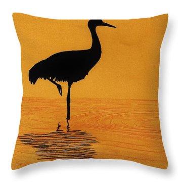 Sandhill - Crane - Sunset Throw Pillow