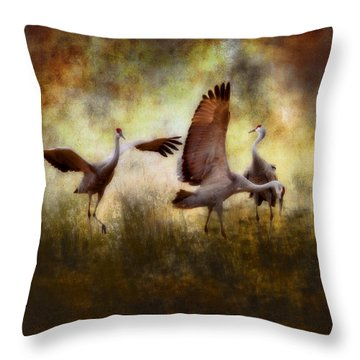 Sandhill Cranes  Throw Pillow by Ellen Heaverlo