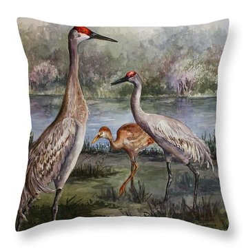 Sandhill Cranes On Alert Throw Pillow by Roxanne Tobaison