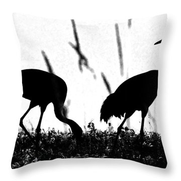Sandhill Cranes In Silhouette Throw Pillow