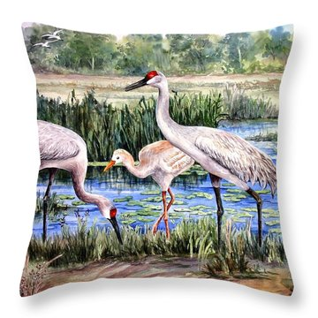 Sandhills By The Pond Throw Pillow by Roxanne Tobaison