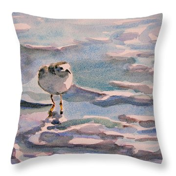 Sandpiper And Seafoam 3-8-15 Throw Pillow